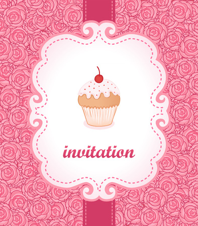 Tea party invitation vintage style frame. Vector illustration.  Vector