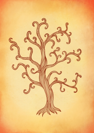 romantically: Illustration of  vintage style tree