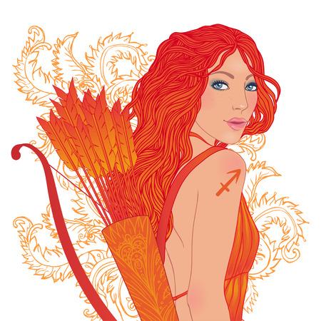 Pretty girl as a zodiac sign Sagittarius. Vector illustration.  Illustration