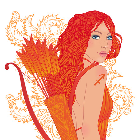 sagittarius: Pretty girl as a zodiac sign Sagittarius. Vector illustration.  Illustration