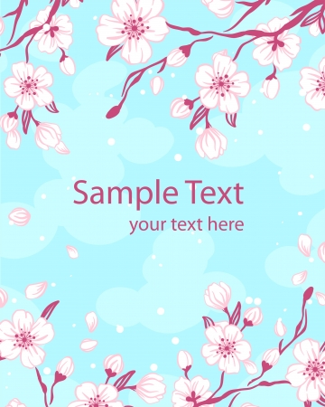 Abstract romantic vector background with sakura branch  Vector