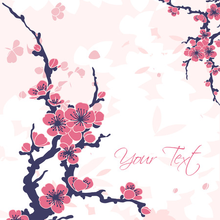 Abstract romantic vector floral background with sakura branch  Vector