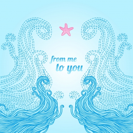 waves pattern: Elegant blue patterned frame with waves and starfish