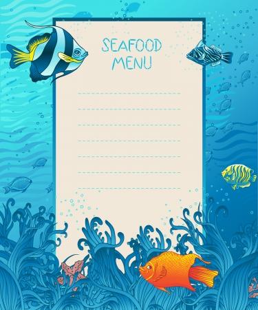 sea wave: Seafood menu design background template, marine fauna elements