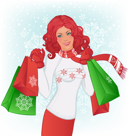 Winter shopping: Beautiful redhead woman with christmas shopping bags on the vector background with snowflakes.  Vector