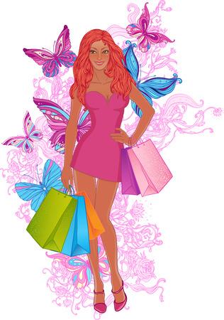 redhead woman: Bella donna rossa con borse della spesa. Illustrazione vettoriale.
