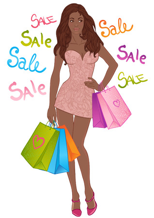 Full length vector portrait of a beautiful sexy african american girl with shopping bags. She is wearing in mini dress and looks happy. Vector