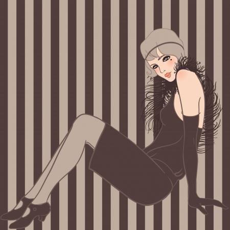 フラッパー女の子: レトロなパーティーの招待状のデザイン、ベクター アート  イラスト・ベクター素材