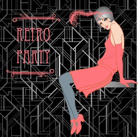 twenties: Flapper girl: Retro party invitation design. Vector illustration. Great Gatsby style.