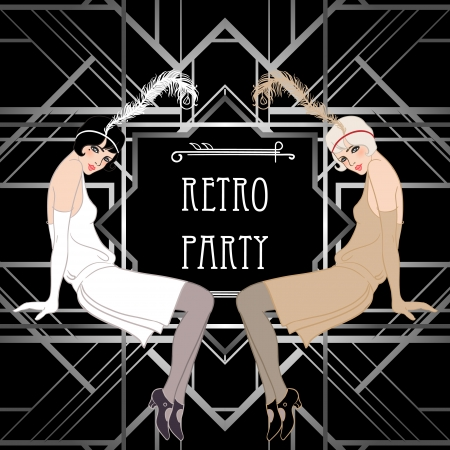dekoration: Flapper Mädchen: Retro-Partyeinladung Design. Vektor-Illustration. Great Gatsby-Stil.