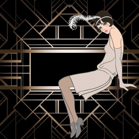 フラッパー女の子: レトロなパーティーの招待状のデザイン。ベクトル イラスト。偉大なギャツビー スタイル。