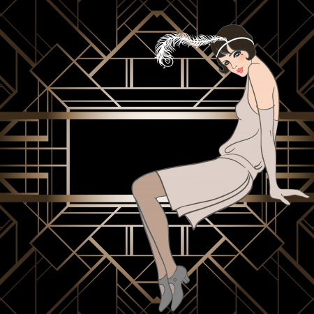 Flapper girl: Retro party invitation design. Vector illustration. Great Gatsby style.