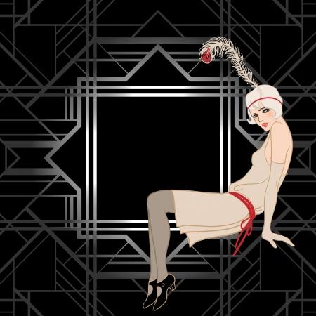 dekoration: Flapper Mädchen: Retro-Partyeinladung Design. Vektor-Illustration. Great Gatsby-Stil.