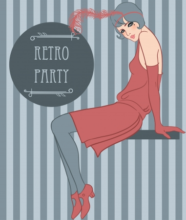 Flapper girl: Retro party invitation design, vector art Vector