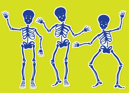 Dancing Skeletons. Vector Illustration. Vector