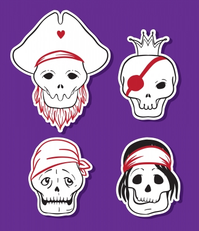 brigand: Cartoon funny pirate skull icons. Vector set.