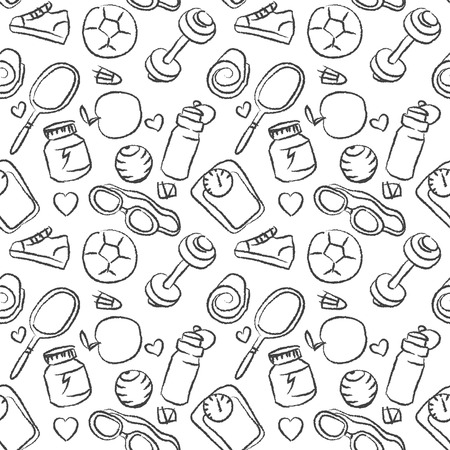 Seamless sketchy pattern of healthy lifestyle icons and elements in vector