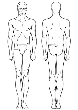 Young European mans full length standing body template: front and back
