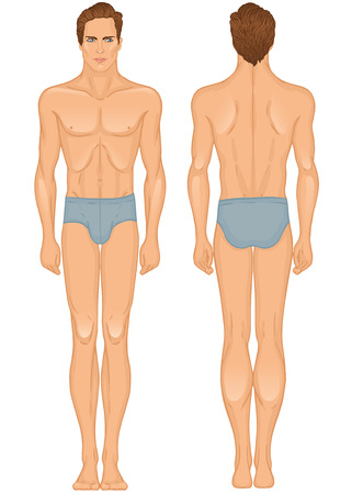 Young European man volle lengte permanent orgaan template: voor-en achterkant