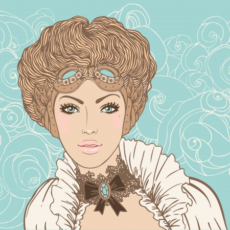caucasians: Fronte della bella ragazza steampunk