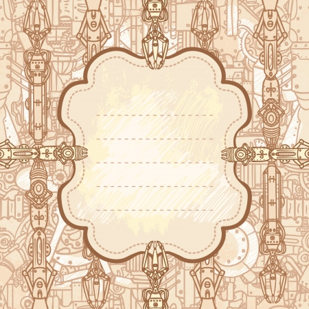 Drawn industrial steampunk style frame  Vector