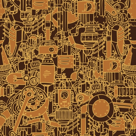 Steampunk seamless vector pattern, vector art Vector
