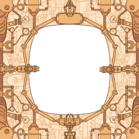 Steampunk vintage mechanical frame, vector art Vector