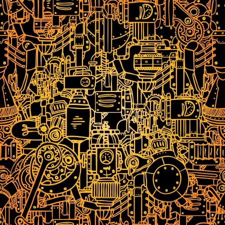 Modello vettoriale Steampunk senza soluzione di continuità, illustrazione arte