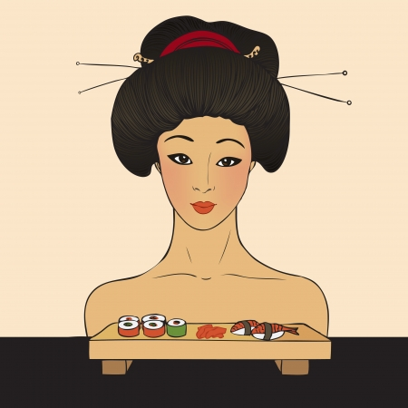 susi: Traditional japanese pretty girl enjoy sushi. Vector illustration. Menu template