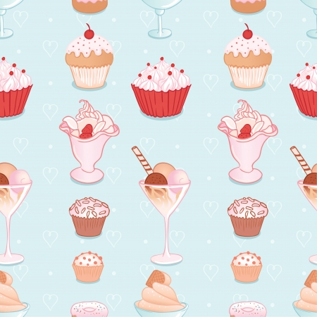 Seamless pattern with candies and sweets. Vector illustration. Vector