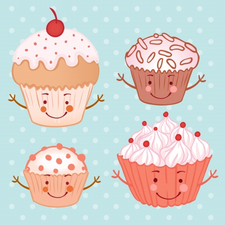 Cartoon funny cupcake (muffin) set. Vector illustration.  Vector