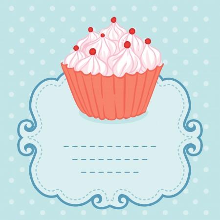 birthday cupcakes: Tea party invitation vintage style frame funny cupcake. Vector illustration.  Illustration