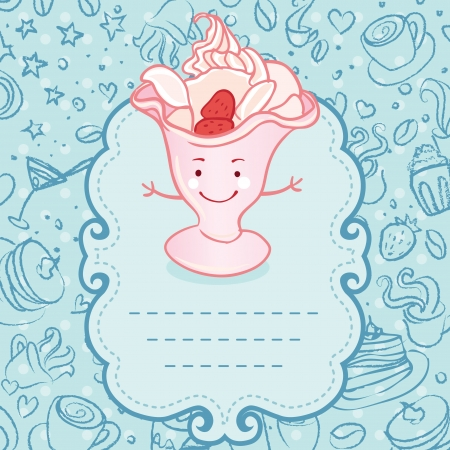 Tea party invitation vintage style frame with funny ice cream. Vector illustration.  Vector