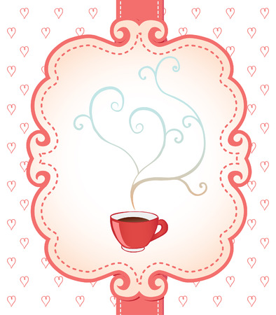 Tea party invitation vintage style frame  Vector illustration over pattern with candies and sweets  Vector