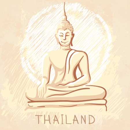 World famous landmark series: Statue of Sitting Buddha, Thailand  Vector