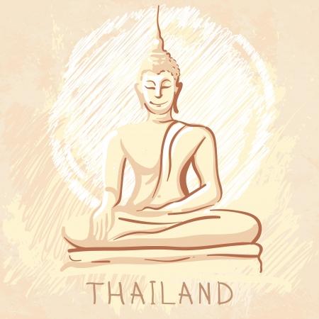 stone buddha: World famous landmark series: Statue of Sitting Buddha, Thailand