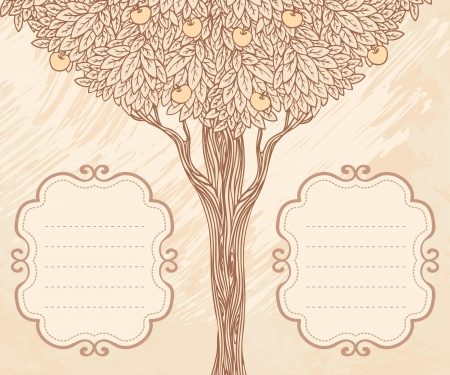 Vector apple tree and two frames with empty place for text. invitation card templae design.