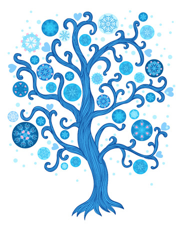beautiful abstract vector winter tree with christmas decoration  Vector