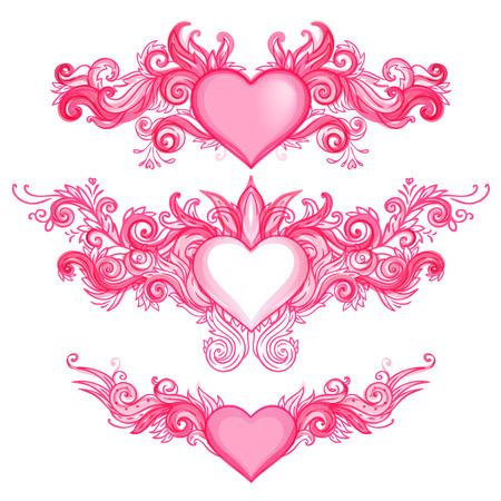 corazon con alas: Dibujado a mano abstracto de los corazones, remolinos port�til incompletos Doodles ilustraci�n vectorial Elementos de dise�o Vectores