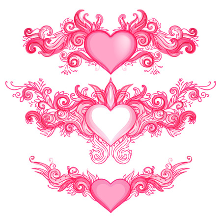 heart and wings: Hand-Drawn Abstract Hearts, Swirls Sketchy Notebook Doodles Vector Illustration Design Elements  Illustration