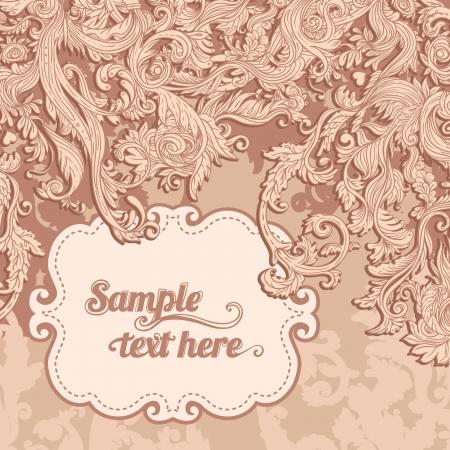 pink swirl: Vintage background ornate baroque pattern, vector illustration