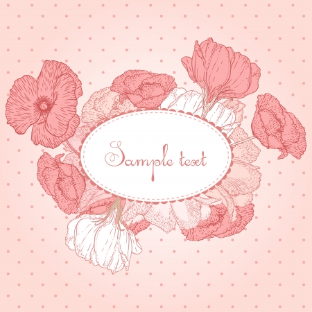 Romantic vector card with flowers in pink Vector