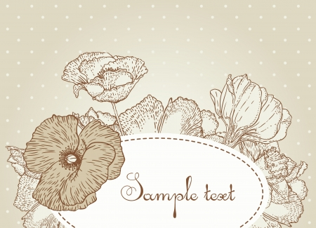 Vintage style design with flowers and dots Vector