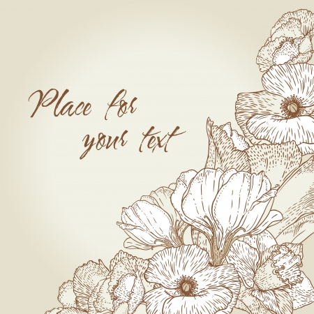 Vintage style engraving background with flowers Vector
