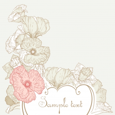 Vintage style romantic vector card design with flowers Vector