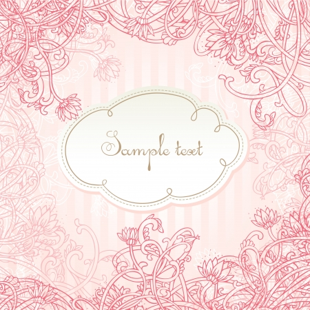Pink romantic amazing card with flowers Vector