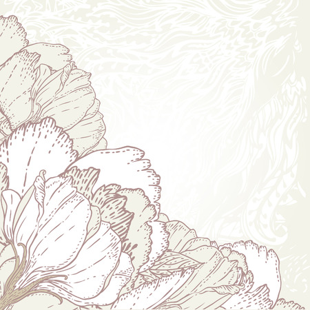 boring frame: Peony: Vintage hand-drawing background with flowers. Vector illustration.