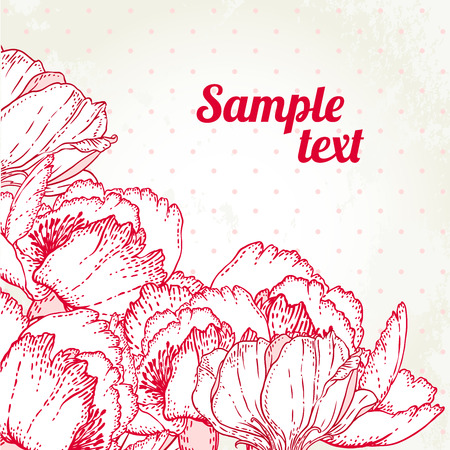 Peony: Vintage hand-drawing background with flowers. Vector illustration.  Vector