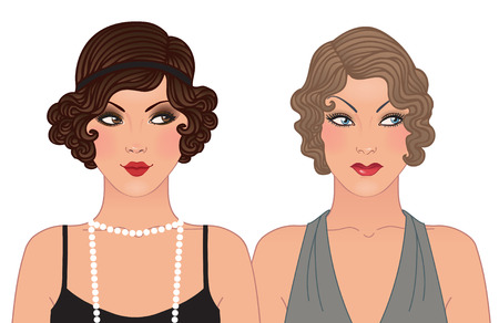Hairstyle and makeup of decades of the 20th century (1920-1930)  Vector