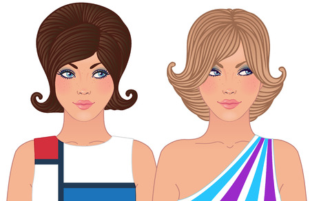 Hairstyle and make-up of decades of the 20th century (1960-1970) Vector